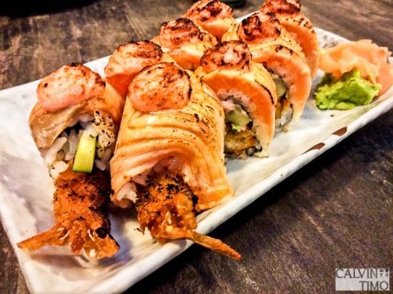 Ebi Fry Salmon Aburi